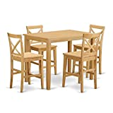 East West Furniture YAPB5-OAK-W 5 Piece High Table and 4 Counter Height Stool Set