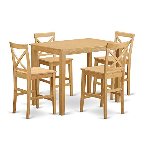 East West Furniture YAPB5-OAK-W 5 Piece High Table and 4 Counter Height Stool Set by East West Furniture