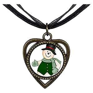 Chicforest Bronze Retro Style Christmas Snowman Heart Shaped Pendant