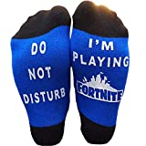 EPIC SOCKS - Do Not Disturb - I'm Playing Fort nite Novelty Ankle socks - Boys gifts (Blue, Medium (4-10))