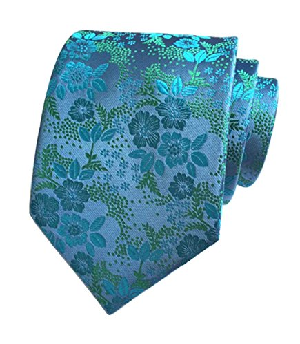 L04BABY New Men's Classic Blue Green Floral Jacquard Woven Silk Ties Necktie - Flowers New Necktie