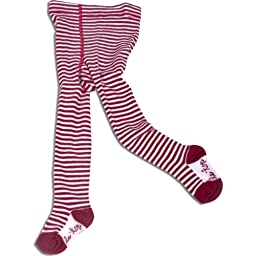Letop Deck The Halls Red and White Stripe Tights, Red, 3-9 Months