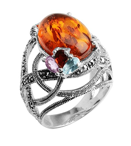 Amber Ring Dome Amethyst Garnet Blue Topaz Marcasite Sterling Silver- Size 8 -by Jewelry to Your Doorstep