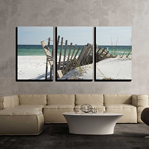 wall26 - 3 Piece Canvas Wall Art - Beach fence near Pensacola Beach, Florida. - Modern Home Decor Stretched and Framed Ready to Hang - 24