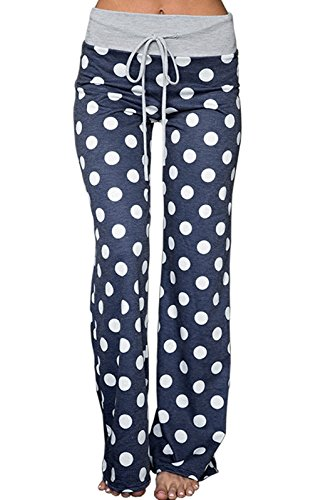 Dot Floral Fabric - NEWCOSPLAY Women's Comfy Stretch Floral Print High Waist Drawstring Palazzo Wide Leg Pants (XXL, Dark Blue dots)