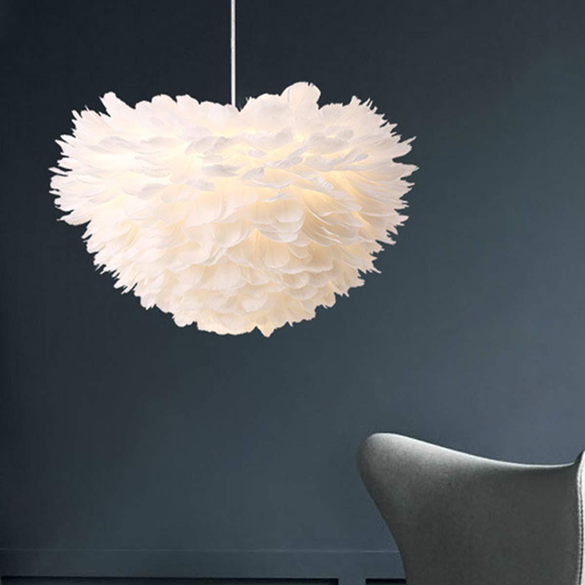 照明ライト ロフトモダンホワイト自然グースフェザーペンダントライトロマンチックE27 Ledペンダントランプ用ホームレストラン寝室用リビングルーム。 LEDランプ (色 : AC 220V, サイズ : 暖かい白) B07PMRV4R8 AC 220V 暖かい白