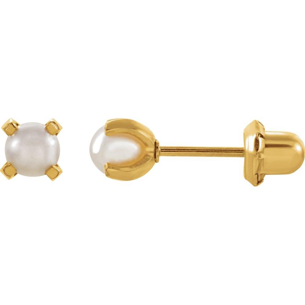 24kgwstst 4mm Polished Crystal Simulated Pearl Piercing Earrings by JewelryWeb