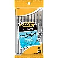 BIC Round Stic Grip Xtra Comfort Ball Pen, Medium Point (1.2 mm), Black, 8-Count