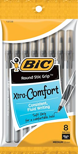 BIC Round Stic Grip Xtra Comfort Ball Pen, Medium (1.2 mm), Black, 8-Count (96 Pens)
