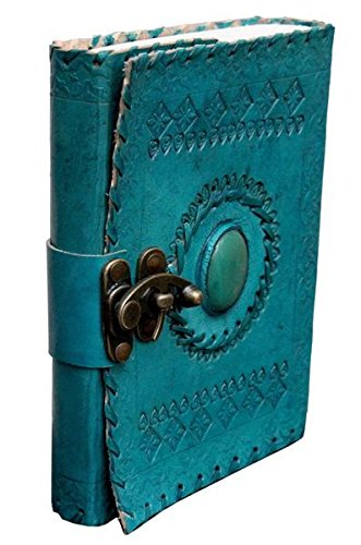 TUZECH Handmade 100% Pure Leather Diary for Office Home Daily Use With C Lock 7 Inches (Ocean Blue)