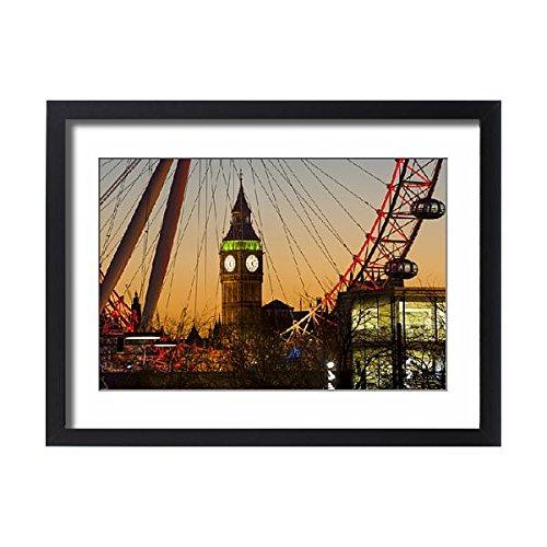 Robert Harding Framed 24x18 Print of London Eye (Millennium Wheel) frames Big Ben at sunset, London (13180261)