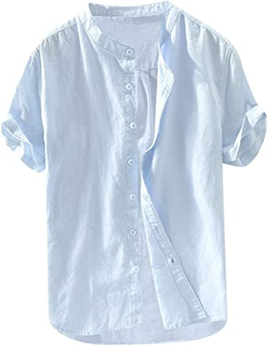 beautyjourney Camisa Casual de algodón Holgada y Lino para Hombres ...