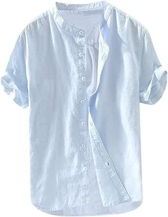 beautyjourney Camisa Casual de algodón Holgada y Lino para Hombres Camisa Retro Color Sólido Camisetas de Manga Corta con Cuello Alto y botón Tops: Amazon.es: Ropa y accesorios