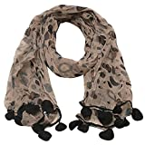 Girls Black Grey Dotted Round Crochet Leafy Accents Scarf