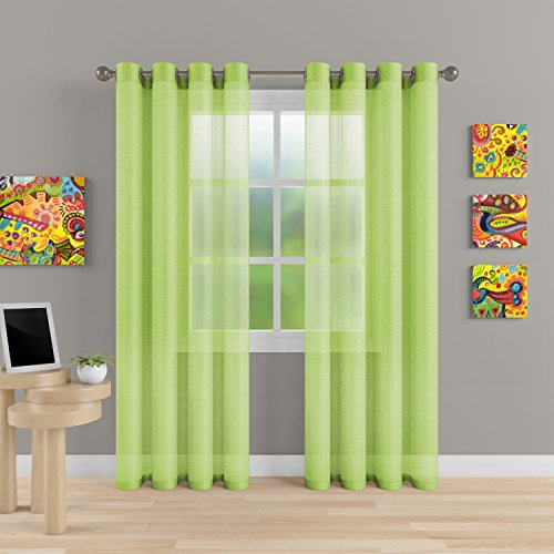 """Grommet Semi Sheer Luxury 2 Panels Total Wide 108"""" (Each Curtain 54""""Wx84""""L) Window Home Decor and Upscale Design Light Penetrating & Privacy Soft Durable Polyester Easy Upkeep (Baby Green)"""