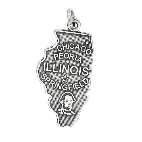 Lgu Sterling Silver Oxidized State of Illinois Charm