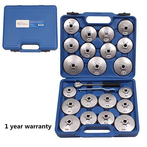 23pcs Aluminum Alloy Cup Type Oil Filter Cap Wrench Socket Removal Tool Set 1/2dr. with a Storage Case by SZBRT BETOOLL