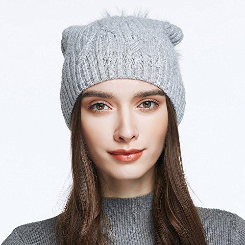Women's Slouchy Wool Knitted Pom Pom Beanie Cap Winter Crochet Cotton Hat