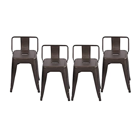 Fantastic Changjie Furniture Pack Of 4 Gunmetal Counter Bar Stool With Backs Indoor Outdoor Bistro Cafe Bar Stool 18 Inch Low Back Rusty Theyellowbook Wood Chair Design Ideas Theyellowbookinfo