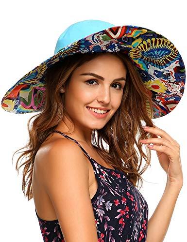 (Packable Extra Large Brim Floppy Sun Hat Reversible UPF 50+ Beach Sun Bucket Hat (Medium, Blue))