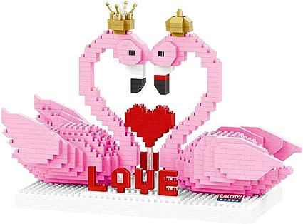 Mini Brique Rose Flamant Avec Couronne Amour Bloc 3d Diy Dessin Anime Nano Batiment Jouet Cadeau Pour Enfants 830 Amazon Fr Sports Et Loisirs