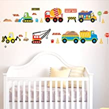 Jack-Store Cartoon Construction Site Trucks Road Signs Wall Sticker Decal (Auto Combination)