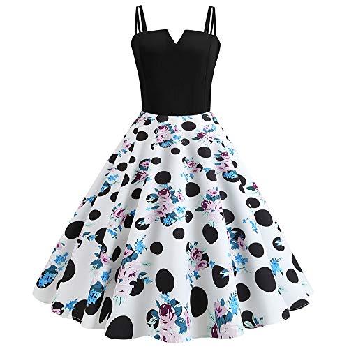Leomodo Women's Summer Retro Digital Print Stitching Sling Big A-Line Dress]()