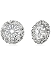 14k White Gold Diamond Classic Halo Earrings Jackets (1/3 cttw, J-K Color, I2-I3 Clarity)