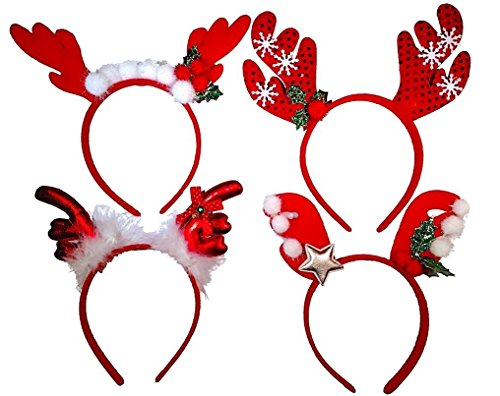 Christmas Headbands - Red Reindeer Antler Party Hats for Christmas Celebration (4) -