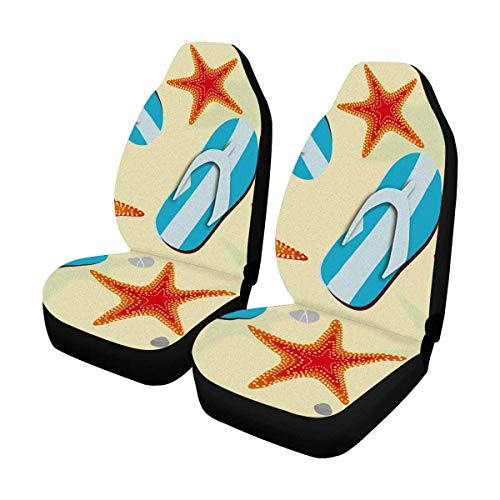- INTERESTPRINT Beach Flip Flops Starfish Car Seat Cover Front Seats Only Full Set of 2, Entire Seat Protection, Car Front Seat Cushion for Pets Running Gym