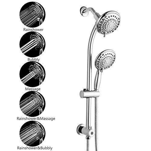Polished Chrome Combo - SARLAI Flexible Double Rain Hotel Spa Dual Shower Head Combo Polished Chrome