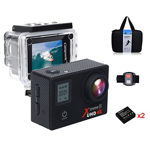 Campark Sports Action Video Camera 4K 30fps Ultra HD WiFi with Wrist Remote Control,Dual Screen,Waterproof upto 98ft/30M Underwater,SONY Sensor,TWO Batteries Included