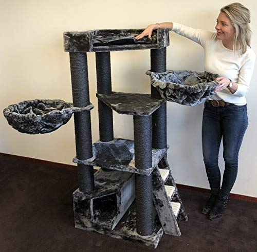 Cat Tree for Large Cats – Corner Cat XXL Blackline Dark Grey – 59 inch 105 lbs 5 inch Ø poles – Total size 59x24x22 inch – Cat Scratcher scratching post activity center Cat Trees for large cats.