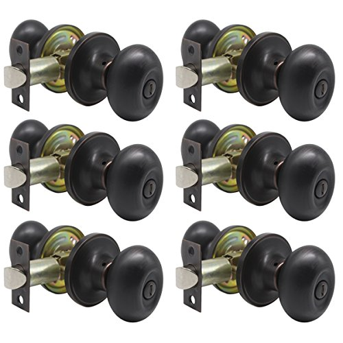 (Probrico Egg Style Bedroom and Bathroom Privacy Door Knobs Oval Oil Rubbed Bronze Keyless Door Lock(6 Pack))