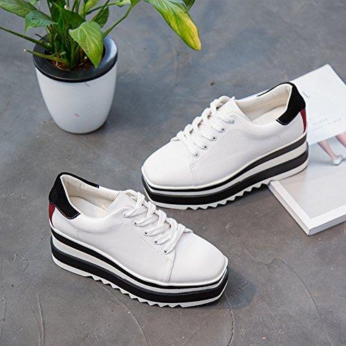 Btrada Femmes Décontracté Fond Épais Chaussures À Lacets Anti-dérapant Haute Caché Noir Et Blanc Sneaker Chaussures