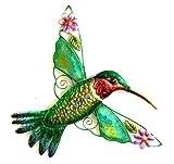 Bejeweled Display Hummingbird w/ Glass Wall Art Plaque & Home Decor