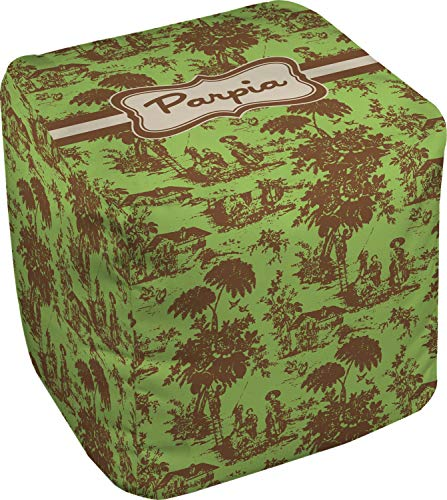 (RNK Shops Green & Brown Toile Cube Pouf Ottoman - 13
