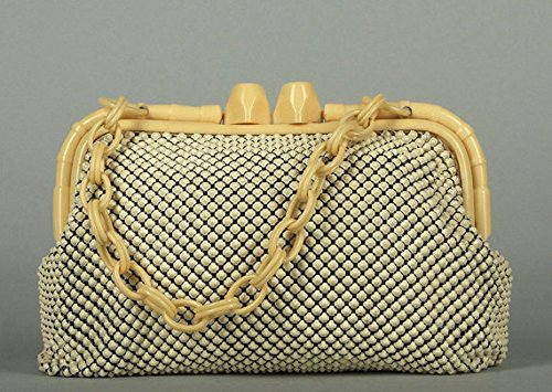 1940's Vintage Celluloid (1940s Vintage Art Deco Whiting and Davis Clutch Purse Celluloid Mesh Ivory Allumesh)