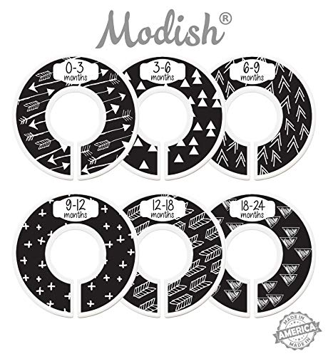 Modish Labels Baby Nursery Closet Dividers, Closet Organizers, Nursery Decor, Gender Neutral, Baby Boy, Baby Girl, Tribal, Arrows, Triangles, Boho Geometric, Nordic, Black, White (Black)