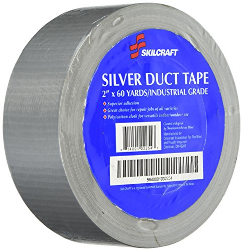 Skilcraft NSN1032254 Duct Tape,Industrial Grade,Easy Tear,3 in. Core,2 in. x 60 in.,Silver