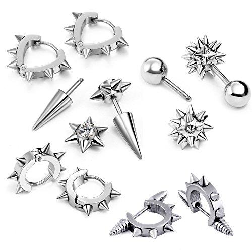 Oidea 10pcs Wholesale Stainless Steel Punk Rivet Heart Shape Hoop Earrings,Round Ball Stud Earrings,Hypoallergenic -