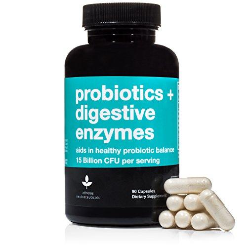 Probiotics + Digestive Enzymes - Premium Combination Digestive Enzymes Supplement w/ 15 Billion CFU Probiotics - Support for Constipation, Bloating, Gas, Acid Reflux & Indigestion (Capsules)
