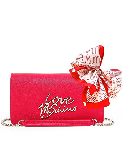 Love Moschino Women's Leather Small Crossbody Bag One Size Red by Love Moschino