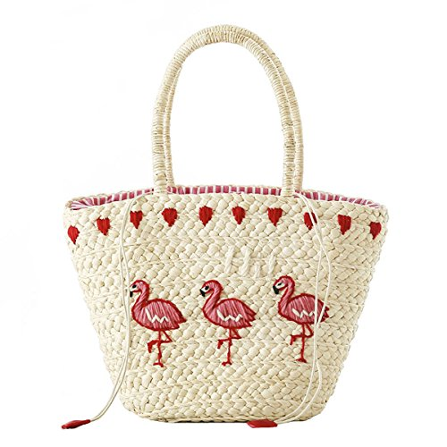 Straw Bags Cute Embroidered Straw Purses Summer Tote Handbags for Women,girls (Flamingo)