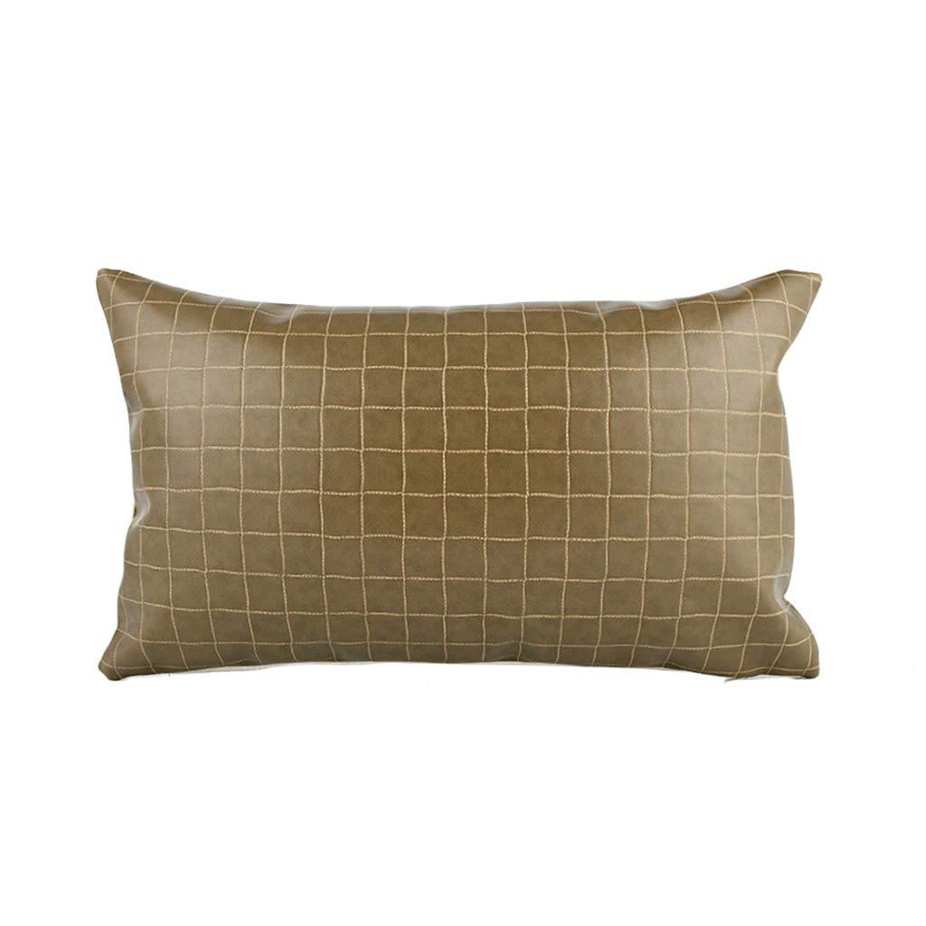 DUHUI Nordischen Stil Kissen Wohnzimmer Leder Sofa Lederkissen Einfache Moderne Kissen mit Kern (Farbe : Grün, größe : 30x50cm)