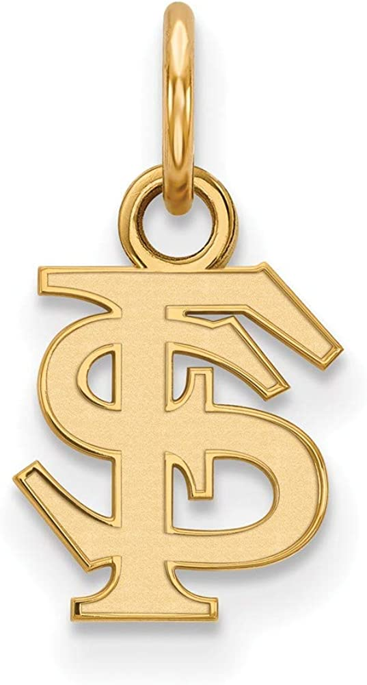 Solid 10k Yellow Gold Official Florida State University Extra Small Tiny Pendant Charm - 15mm x 8mm