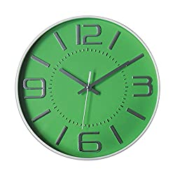 Graceful Silent Wall Clock, 12 Green 3D Numbers Arabic Dial and Round Easy to Read with Non-ticking Movement and Battery Operated for Home/School/Hotel/Office