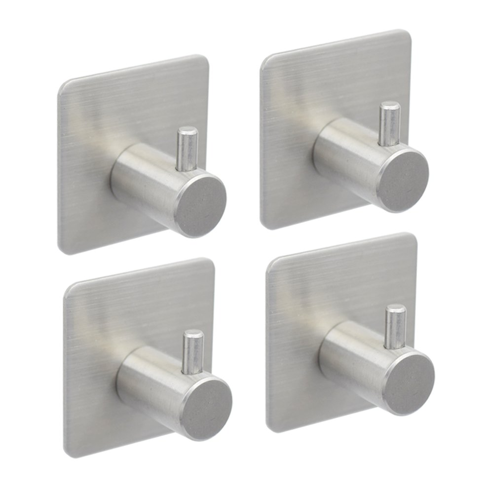 BQTime Towel Hooks 3M Self Adhesive Hooks Super Power Heavy Duty Stainless Steel Key Robe Coat Clothes Bag Hanger Holder, Wall Mounted, Waterproof, Kitchen Sink Bathroom Shower Accessories, 4 Pack by BQTime (Image #1)