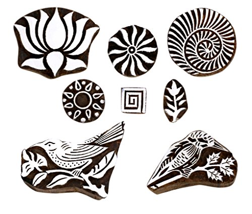 Hashcart Baren for Block Printing Stamps/Wooden Stamping Block/Handcarved Designer Craft Printing Pattern for Saree Border,Henna/Textile Printing,Scrapbooking,Pottery Crafts & Wall Painting,Set of 8 ()