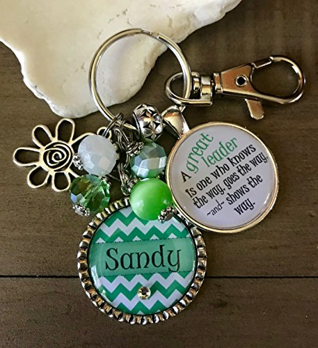 Scout Leader KEYCHAIN, Troop Leader Gift, A great leader is one who knows the way, Personalized Girls Club Leader Jewelry, Daisy, Custom